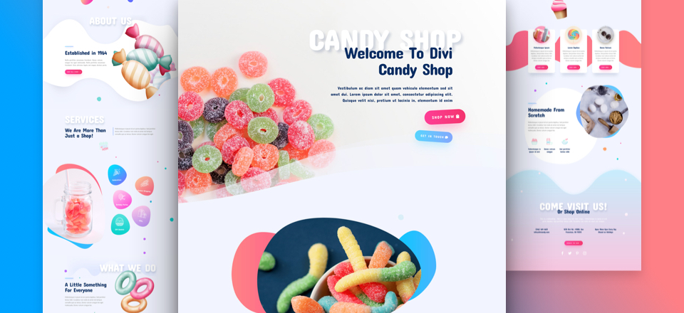 Kostenloses Divi Candy Shop Layout Pack
