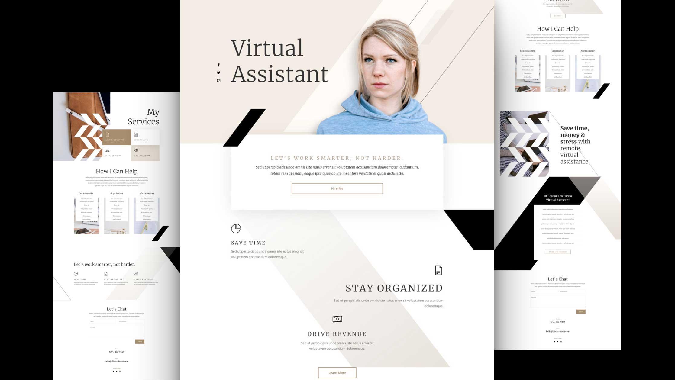 virtuelle-assistentin-divi-kostenloses-layout-pack