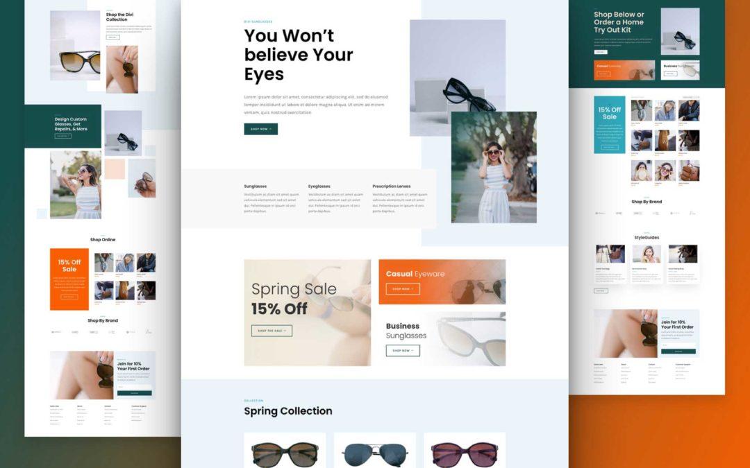 Kostenloses Layout Pack für einen Sonnenbrillen-Shop