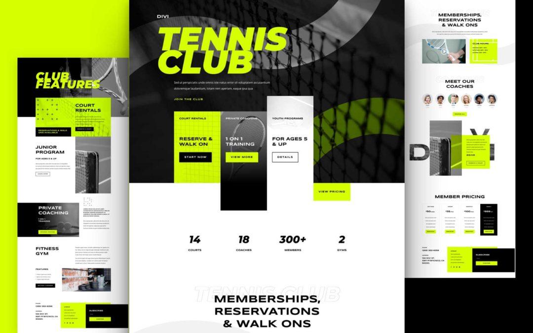 Kostenloses Layout Pack für Tennis Clubs