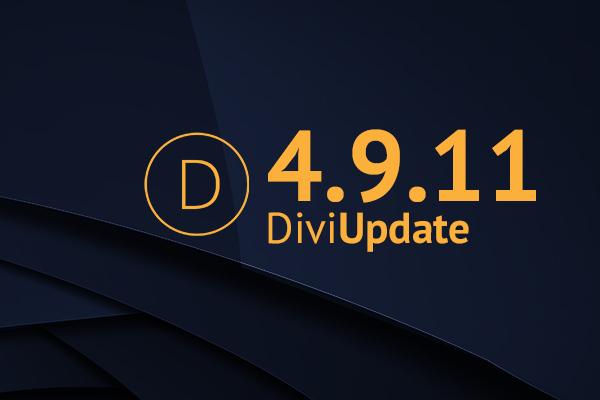 Divi Theme Update 4.9.11