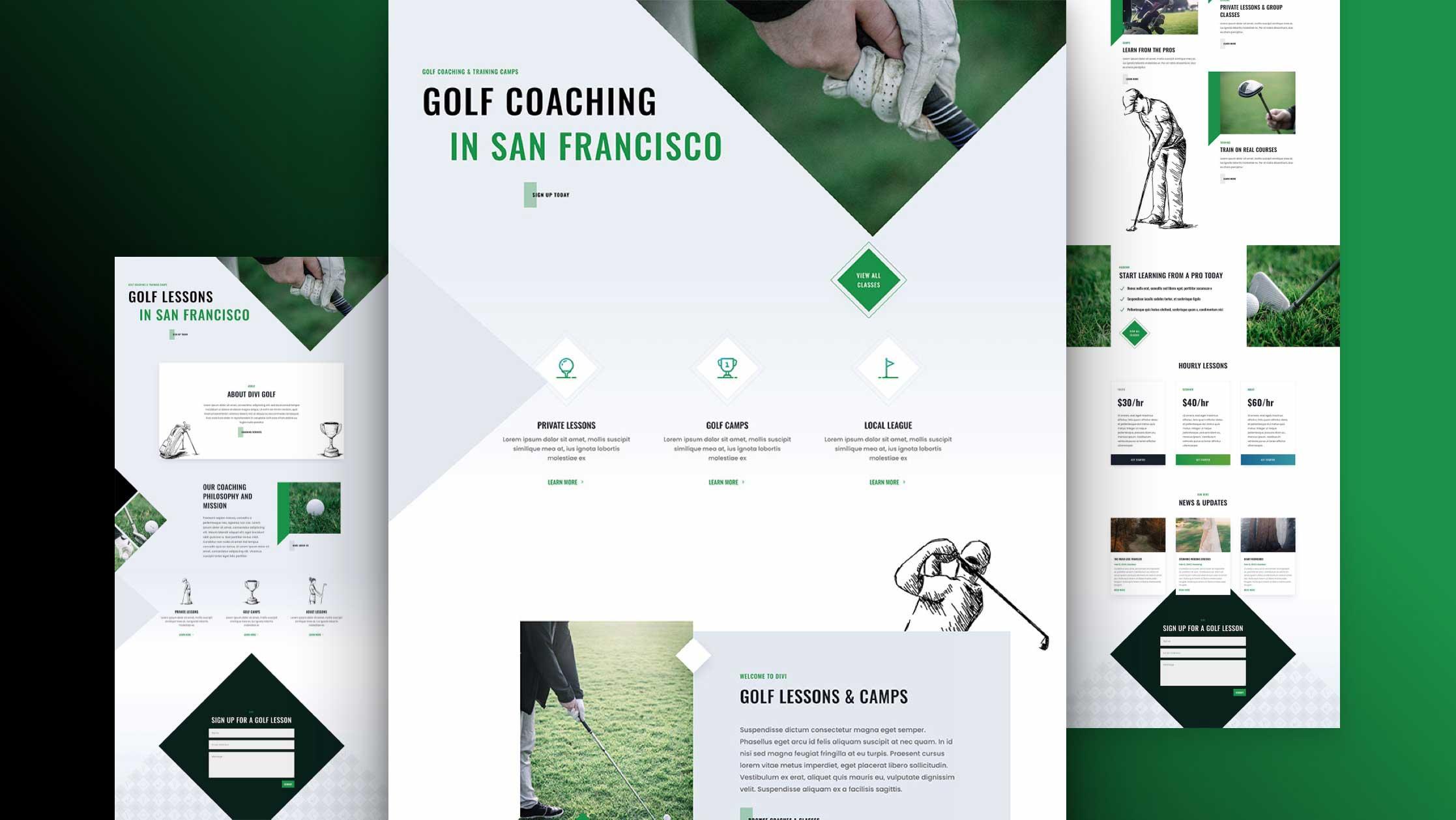 Layout Pack für Golfschulen