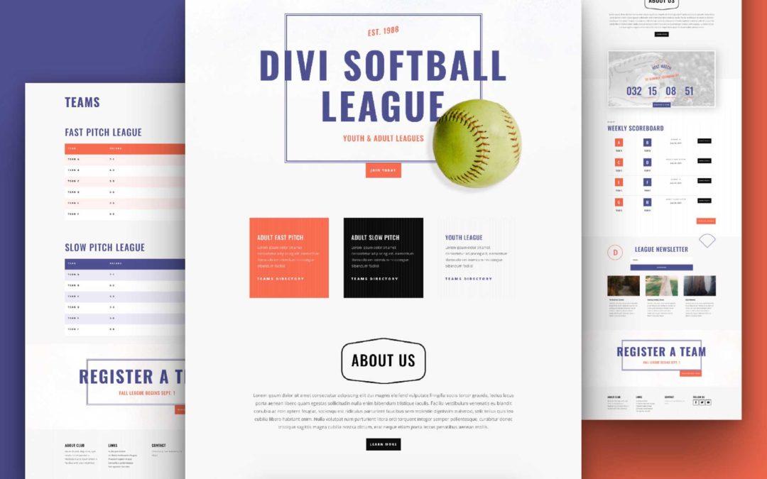 Kostenloses Layout Pack für eine Softball-Liga-Webseite