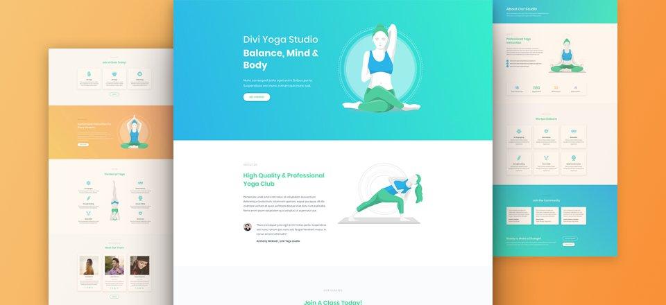 Kostenloses Divi Layout Pack für ein Yoga Studio