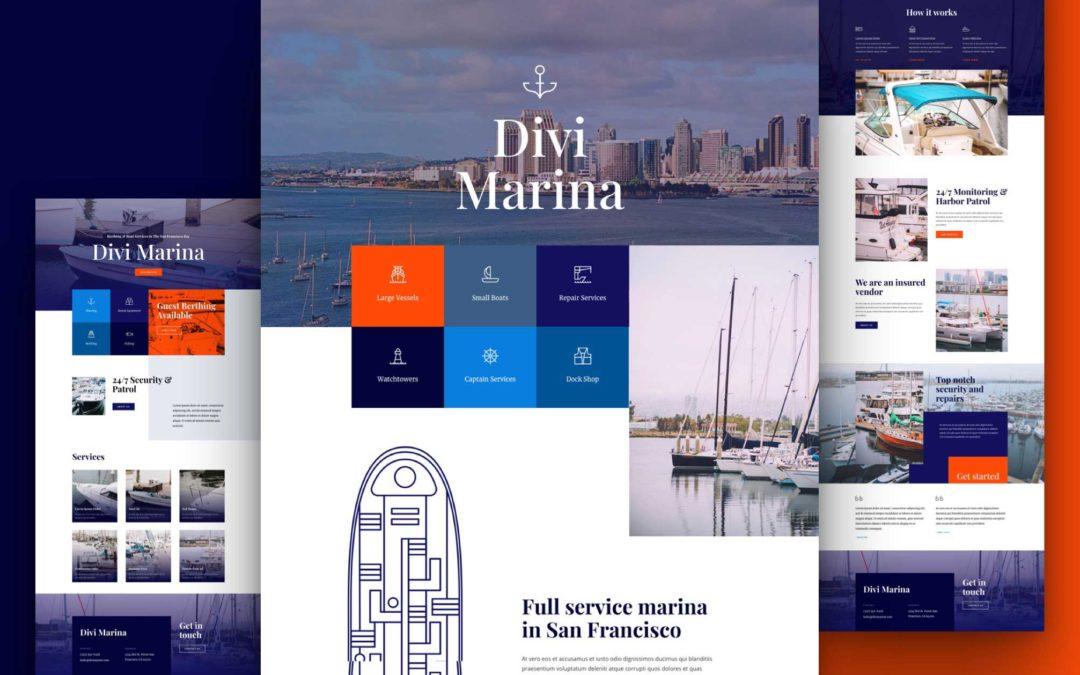 Kostenloses Layout Pack für eine Yachthafen-Webseite